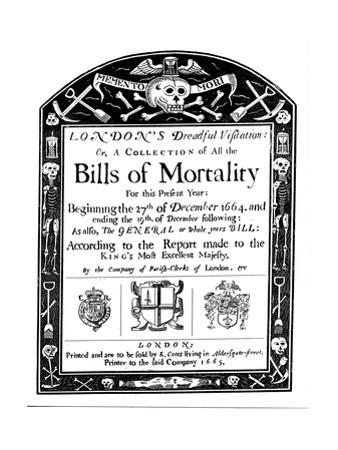 Bills of Mortality Bill for London, Covering Part of the Period of the Great Plague, 1664-1665
