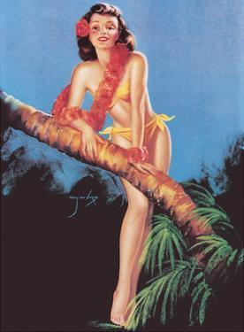 I Hope the Boys Don't Draw Straws Tonight - Tropical Bikini-Clad Girl by Billy Devorss