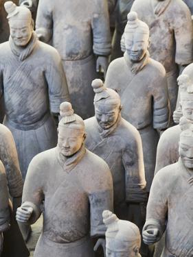 Terracotta Warrior Figures in the Tomb of Emperor Qinshihuang, Xi'An, Shaanxi Province, China by Billy Hustace
