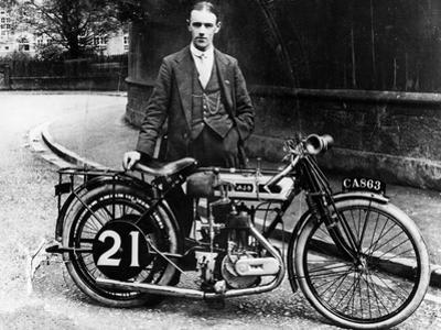 Billy Jones with an Ajs Motorbike, 1914