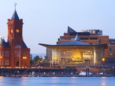 The Senedd (Welsh National Assembly Building) and Pier Head Building, Cardiff Bay, Cardiff, South W by Billy Stock