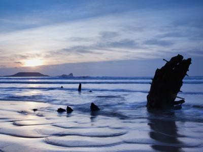Wreck of Helvetia, Worms Head, Rhossili Bay, Gower, West Wales, Wales, United Kingdom, Europe by Billy Stock