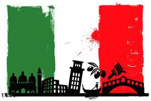 Italy Flag And Silhouettes by bioraven