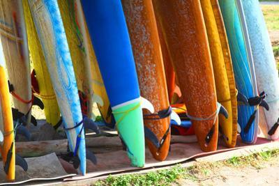 Surf Boards Standing on Kuta Bali Beach by bioraven