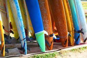Surf Boards Standing on Kuta Bali Beach by bioraven