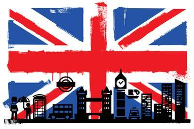 Uk Flag And Silhouettes by bioraven