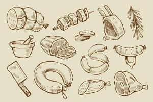 Vector Hand Drawn Meat by bioraven