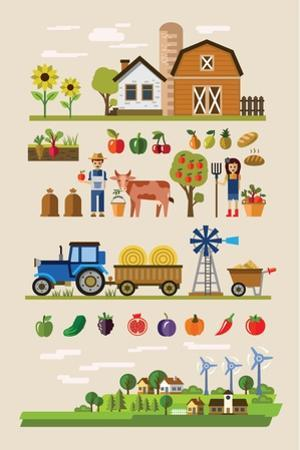 Vector Illustration of Agriculture and Farming Icons by bioraven