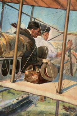 Biplane with Pilot and Passenger Flying Over a Locomotive, 1910