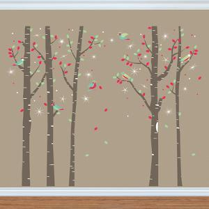 Birch Tree Forest with Swarovski Crystals Wall
