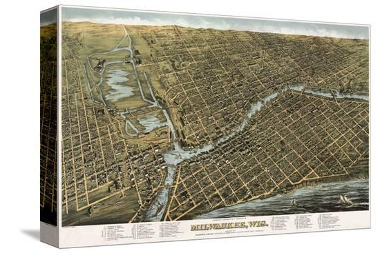 Bird's Eye Map of Milwaukee, Wisconsin, 1872-Bailey-Stretched Canvas