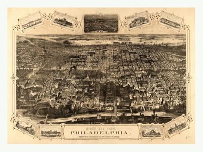 Bird's Eye View of Philadelphia Between the Schuykill River