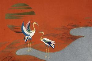 Birds at Sunset on Lake