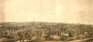 Birds Eye View of Springfield, Mass., Circa 1850, USA, America