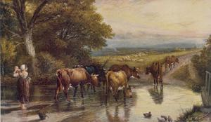 Cattle Returning to the Farm from Pasture by Birket Foster