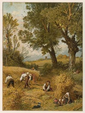 Harvesting with the Sickle in an English Corn-Field Before the Introduction of Reaping Machines by Birket Foster