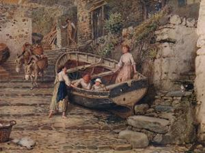 'View at Clovelly, with Stranded Boat and Figures', 1882, (1935) by Birket Foster