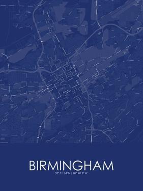 Birmingham, United States of America Blue Map