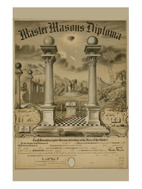 Masonic Symbols - Master Masons Diploma by Bishop