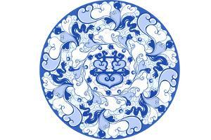 Chinese Traditional Blue and White Porcelain Style Pattern by BJI/Blue Jean Images