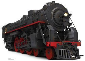 Black and Red Steam Train Cardboard Cutout
