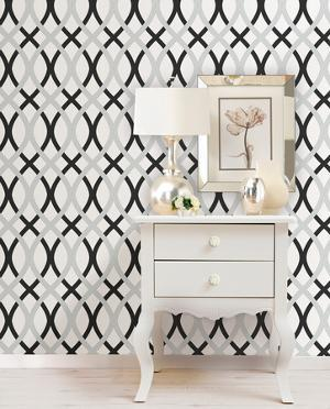 Black and Silver Lattice Peel & Stick Wallpaper