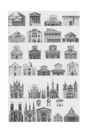 Black and White Cathedral Diagram Illustrations