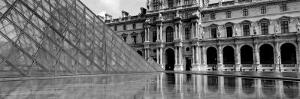 Black and White, Exterior, the Louvre, Paris, France