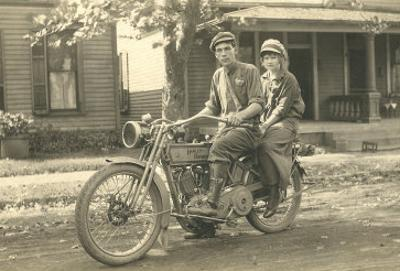 Black and White Photo of Couple on Motorcycle