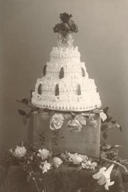 Black and White Photo of Wedding Cake