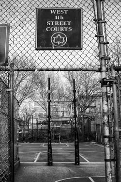 Black and White shot of empty basketball courts at West 4th Street in NYC
