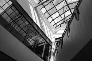 Black and White view of glass ceiling