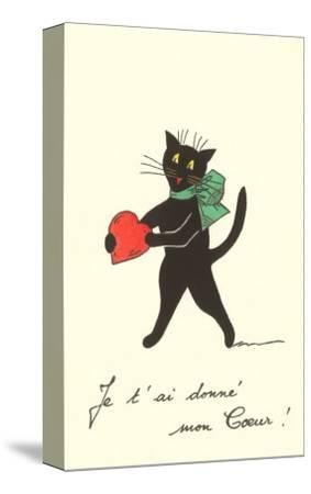 Black Cat with Heart, French I've Given You My Heart