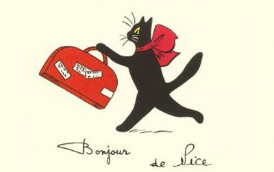 Black Cat with Suitcase, French Greetings from Nice