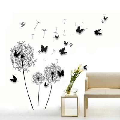 Black Dandelion with 3D Black Butterflies