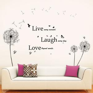 Black Dandelion with Classic Live Laugh Love Quote