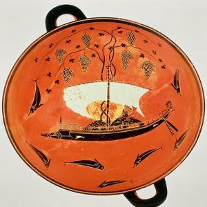 Black-Figure Kylix, Inside View Showing Dionysus in a Boat with a Vine, Exekias, Siren Painter