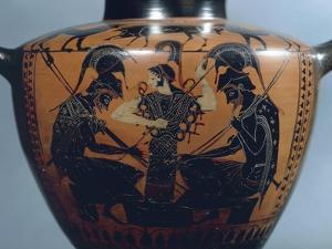 Black-Figure Pottery, Hydria Depicting Achilles and Ajax Playing Dice before Athena