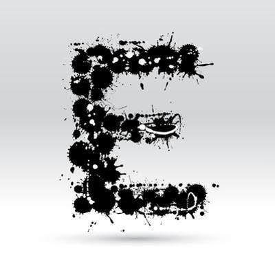 Letter E Formed By Inkblots by Black Fox