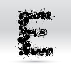 Letter E Formed By Inkblots by Black Fox