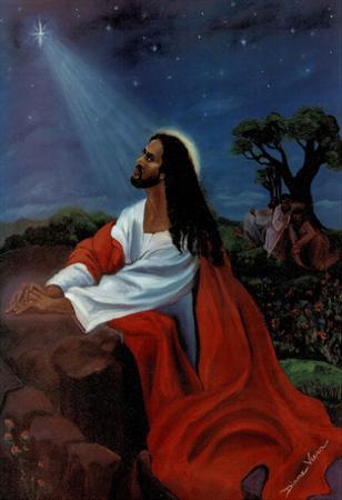 Black Jesus Christ Kneeling religious Print Poster