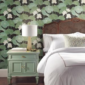 Black Lily Pads Peel & Stick Wallpaper