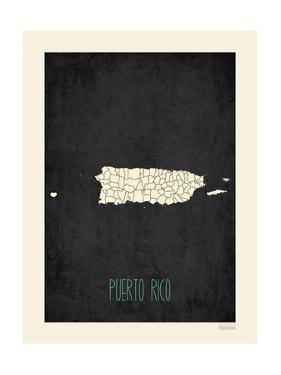 Black Map Puerto Rico