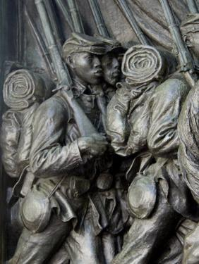 Black Soldiers of the 54Th Massachusetts Regiment, Memorial in Boston, Massachusetts