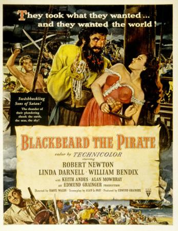 Blackbeard the Pirate, Keith Andes, Robert Newton, Linda Darnell, William Bendix, 1952