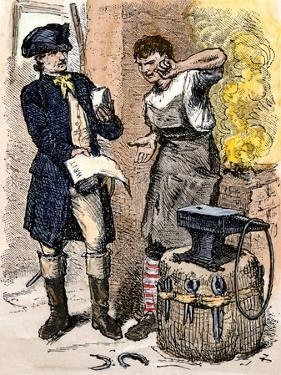 Blacksmith Angry at Being Served a Tax Demand, a Scene in Shays's Rebellion, c.1786