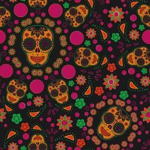 Sugar Skull Seamless Pattern by Blackspring