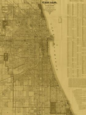 Antique Map of Chicago (neutral) by Blanchard