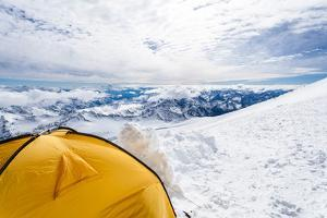 Camping in Caucasus Mountains on Elbrus Landscape by blas