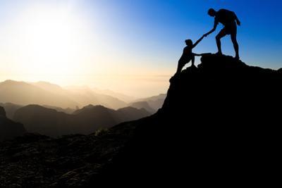 Teamwork Couple Hiking Helping Hand by blas
